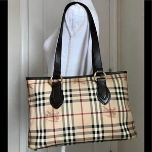 GUC Burberry haymarket check tote handbag